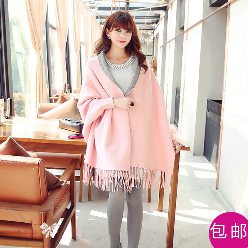 秋冬新款女装双面羊绒大衣针织开衫蝙蝠衫流苏斗篷披肩毛呢外套女