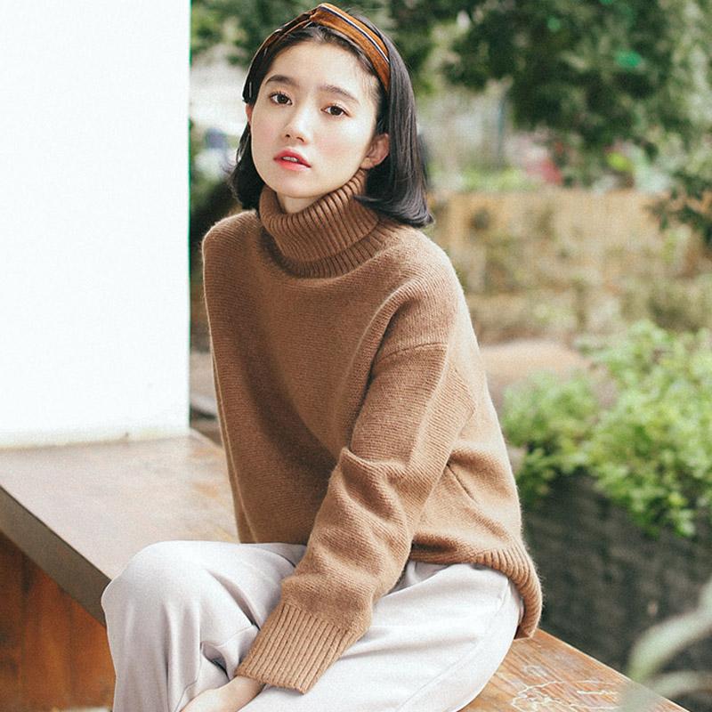 秋冬款韩版学生粗线中长款加厚复古外套套头高领毛衣女宽松冬季潮