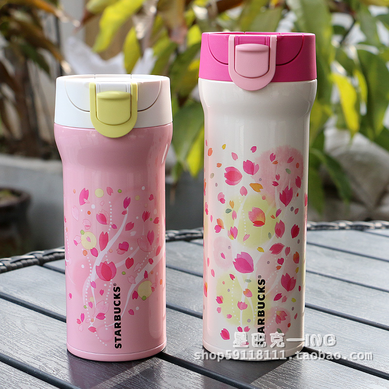 Starbucks genuine 2015 Japan Limited Cherry Blossom White-pink stainless steel insulation cup water cup