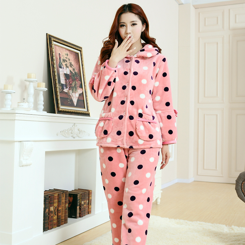 31e019fc92 2018 new autumn and Winter Ladies adults thick coral velvet female suit  home service plus size