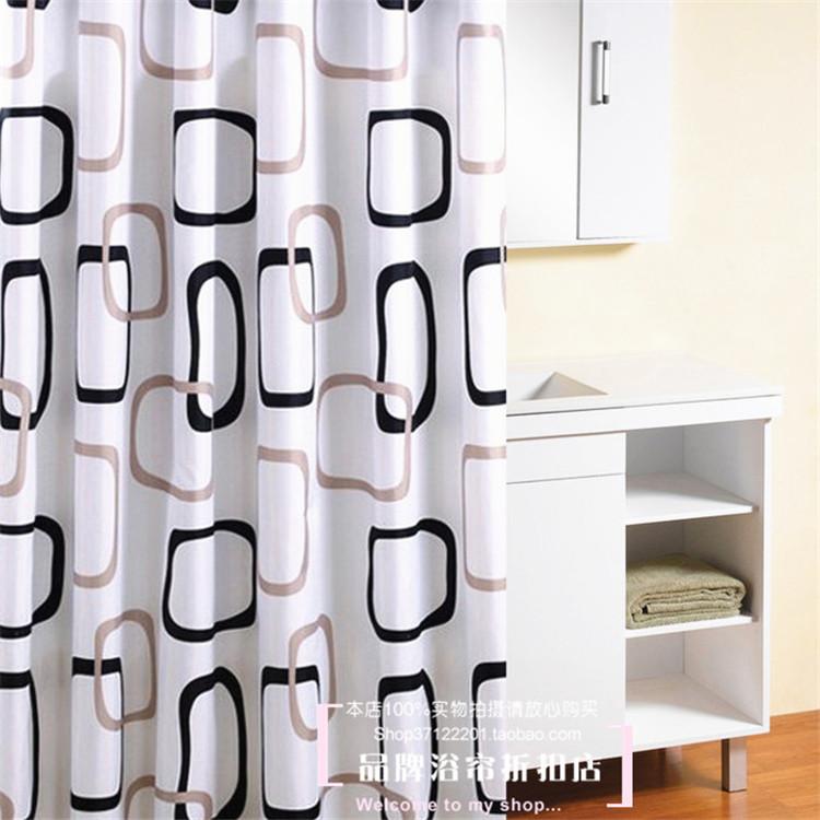 Шторы для ванной Рифма вызывает подлинное двух цветные блоки толщиной высококачественных полиэфирных Душ занавес стиль IKEA послал водонепроницаемый плесени Телескопический стержень и крючок