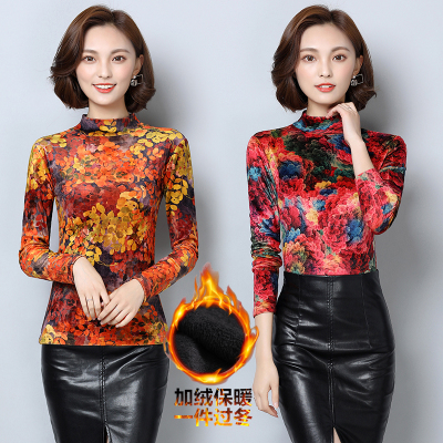 Middle-aged women fall and winter plus velvet bottoming shirt large size mother wearing gold velvet shirt middle-aged long-sleeved T-shirt thick