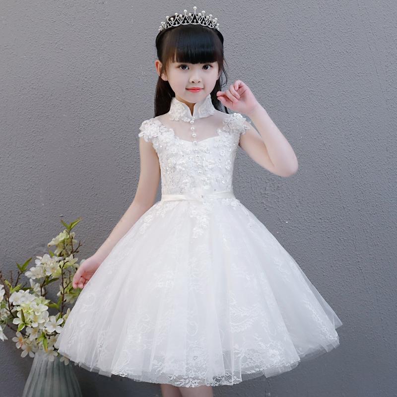 59afe980a Girls birthday dress princess dress child baby flower girl Wedding host  children piano costumes white summer