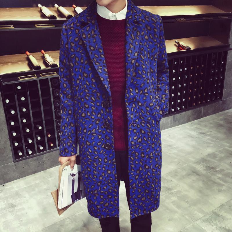 秋冬装2015男士中长款修身风衣韩版显瘦印花色呢料青年大衣外套男