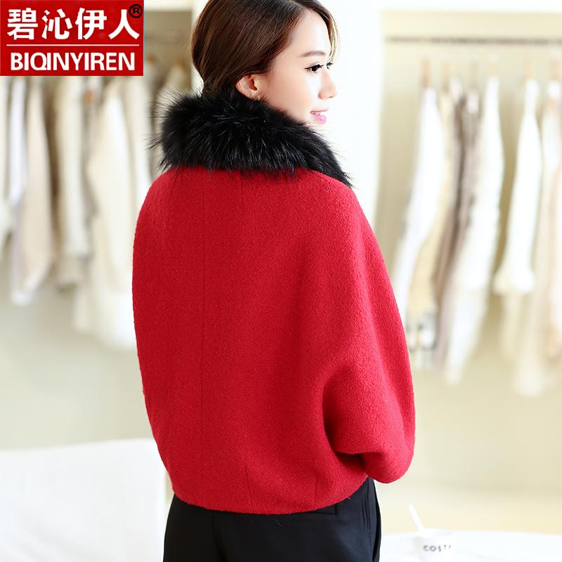斗篷毛呢外套女短款冬季小香风短外套韩版潮毛领羊绒呢子大衣韩范