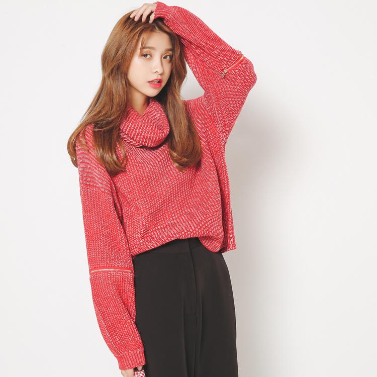 包邮 秋冬新款BF风复古高领杂色混色宽松长袖短款毛衣针织衫