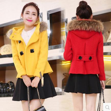 2015秋冬装新款时尚斗篷毛呢外套女短款韩版修身毛领加厚呢子大衣