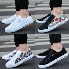 Spring and summer canvas shoes men's white shoes casual shoes Korean shoes men's shoes low to help trend black and white men's shoes