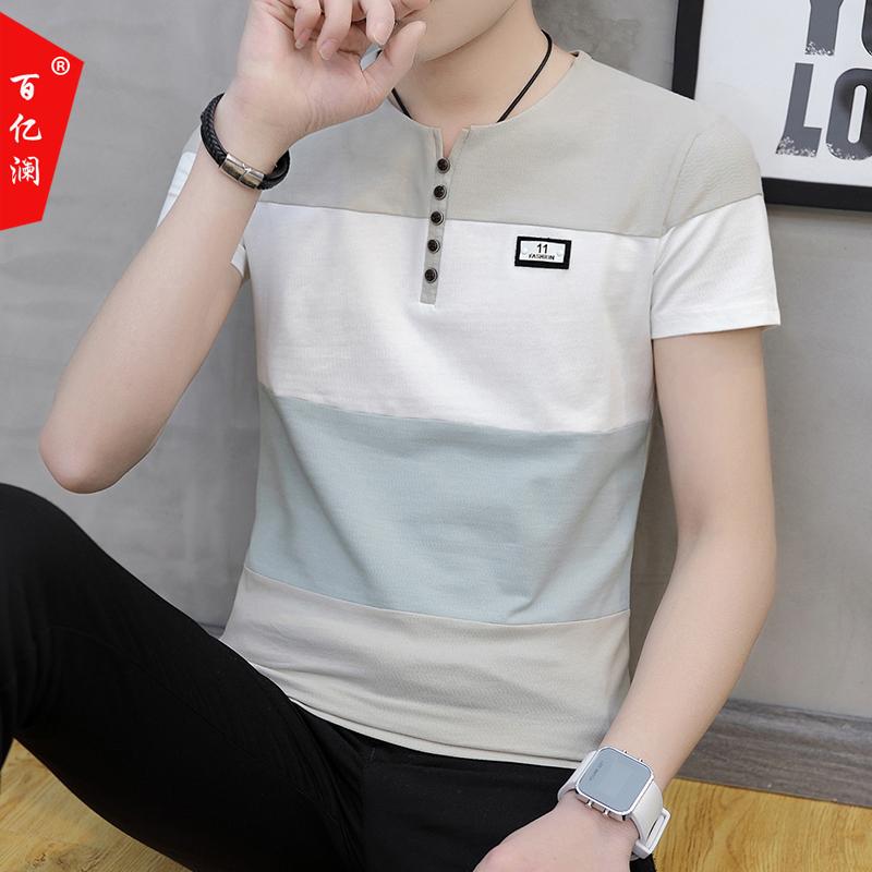 短袖男韩版潮流休闲男士半袖2018新款夏装青年拼色帅气t恤上衣服