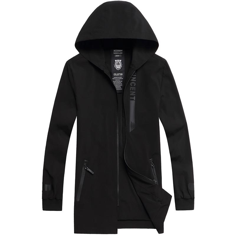 新款春秋装中长款男士夹克加肥加大码胖子特大号连帽风衣运动外套