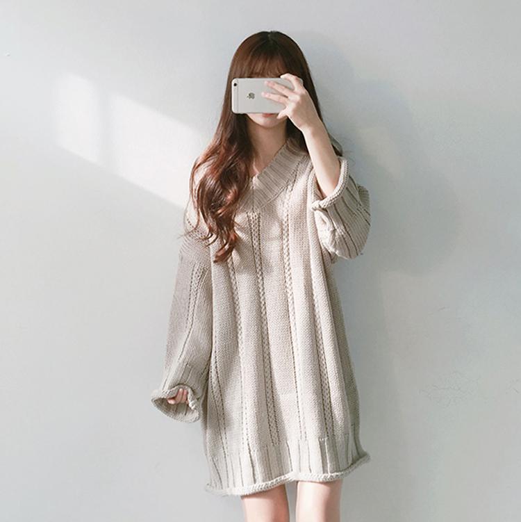 韩版学生宽松冬裙女款毛线裙子中长款韩国bf原宿风学院风连衣裙潮