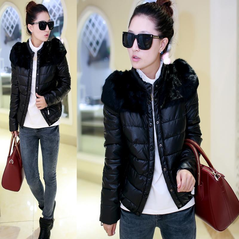女士棉服2014新款冬装韩版大码PU皮棉袄子加厚短款黑色棉衣女外套