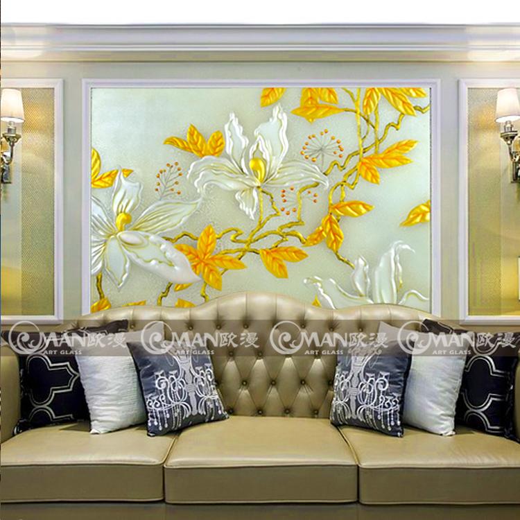 艺术玻璃现代简约电视背景墙彩绘玻璃手工雕刻工艺玻璃 锦上添花