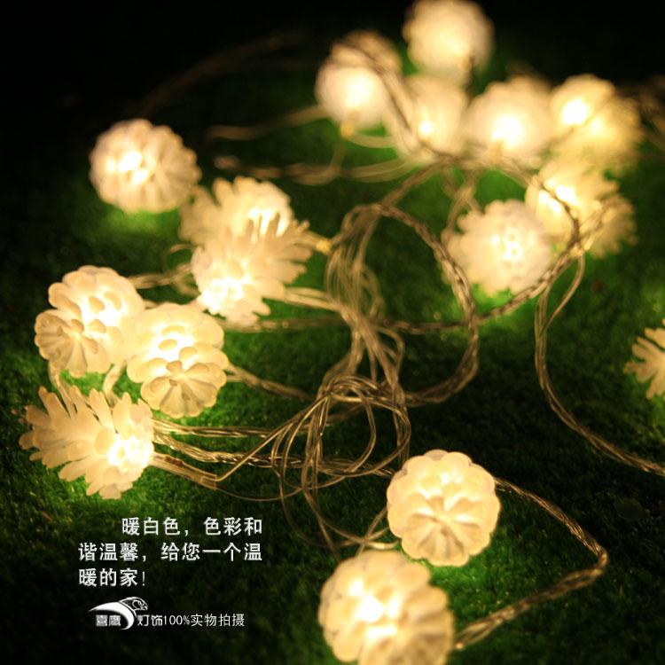 ... 晚会装饰圣诞树挂件庭院装饰10米松果LED圣诞彩灯串