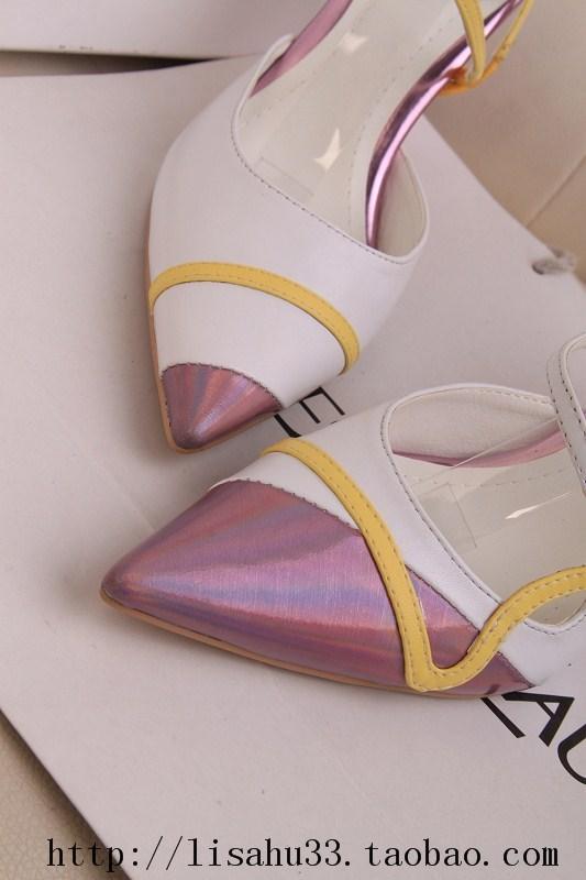欧美孙俪同款凉鞋鸳鸯鞋尖头细跟高跟鞋拼色性感女鞋婚鞋