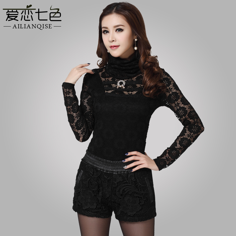 爱恋七色2014春装新款韩版修身长袖打底蕾丝衫