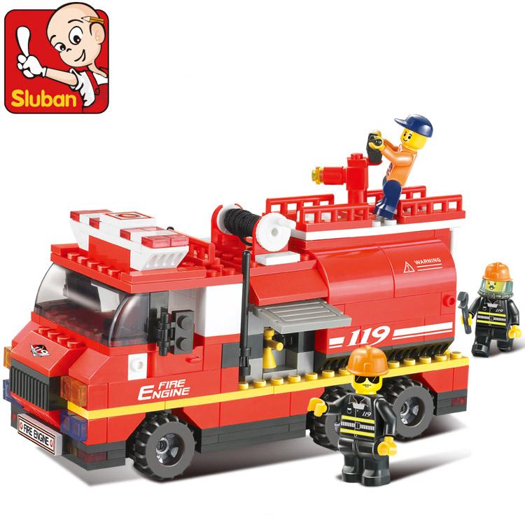 拼装玩具车_小鲁班拼装玩具6岁以上乐高消防车积木塑料拼插儿童益智玩具模型