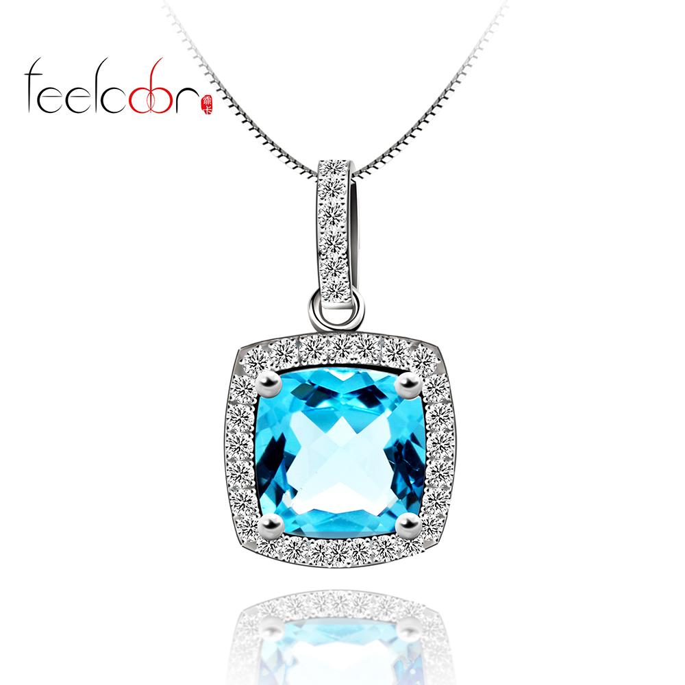 feelcolor项链 925纯银 天然海蓝宝石托帕石吊坠 女公主方形 包邮