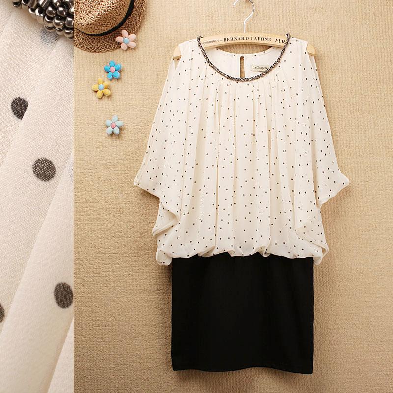 2013夏装新款La Chapelle拉夏贝尔小波点串珠领雪纺连衣裙包臀裙