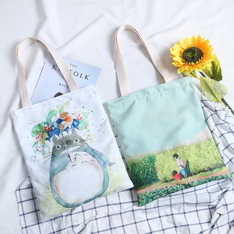 手提帆布购物袋便携折叠单肩女文艺小清新学生大容量装书环保袋子