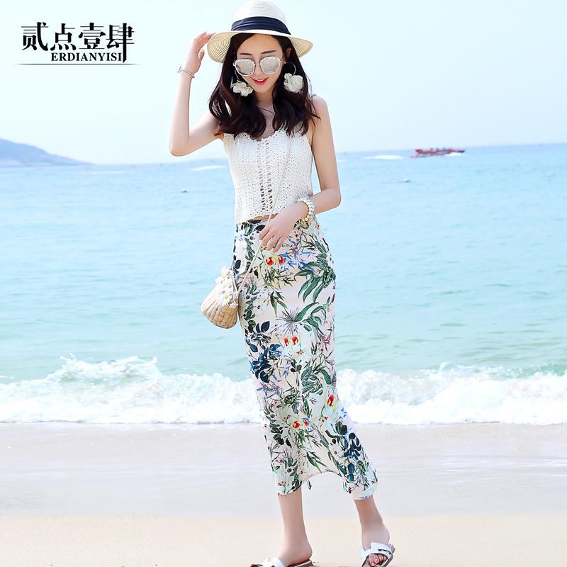 四面弹碎花印花包臀开叉中长款女春夏海边度假高腰一步沙滩半身裙