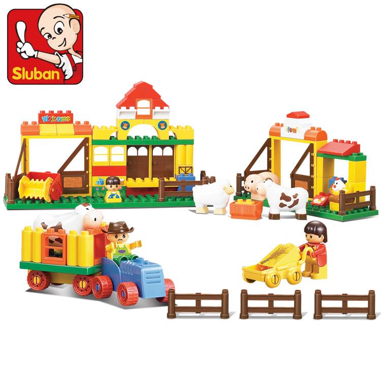 小鲁班 桶装乐高式积木 欢乐农场拼装积木 儿童益智拼插玩具85片