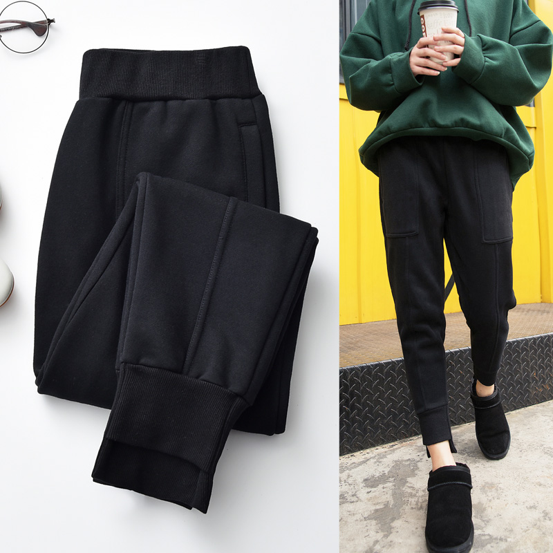 黑色束脚运动裤女2018春季新款小脚哈伦裤宽松显瘦时尚休闲裤卫裤