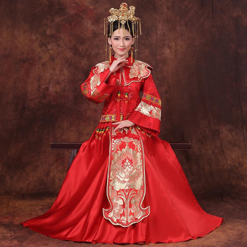 喜服女结婚中式礼服新娘唐装大码胖mm复古婚纱礼服中国风拖尾宫廷