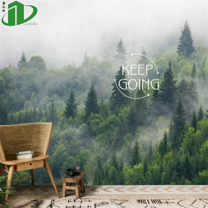 北欧风格壁纸3d森林大自然森林风景墙纸客厅8D墙布电视背景墙壁画