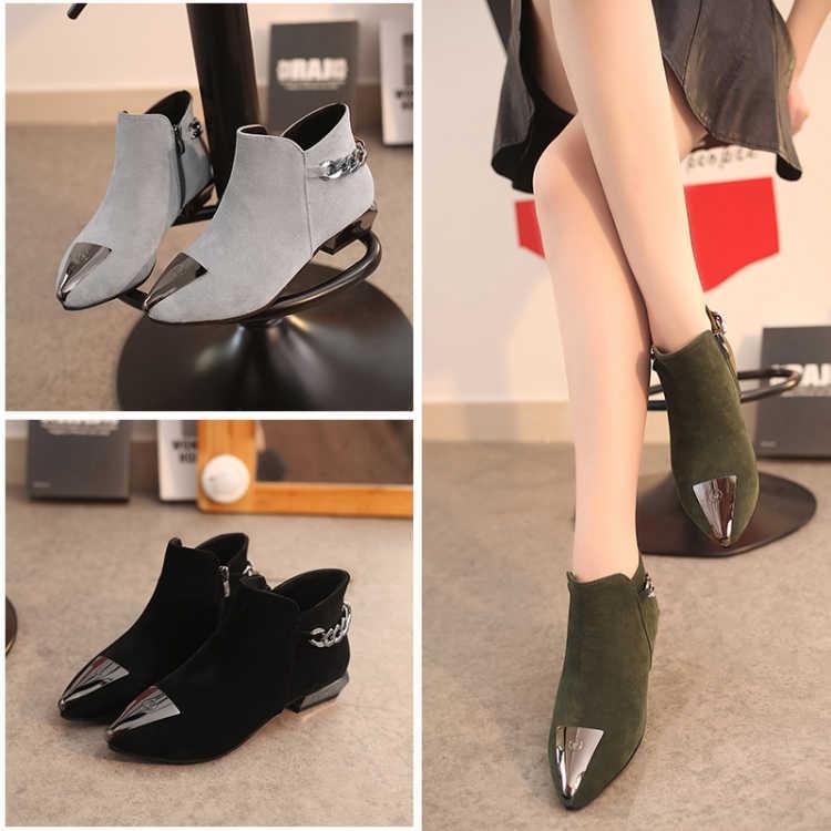 休闲女鞋2021新款欧美时尚金属尖头磨砂绒面短靴女粗跟低跟马丁靴