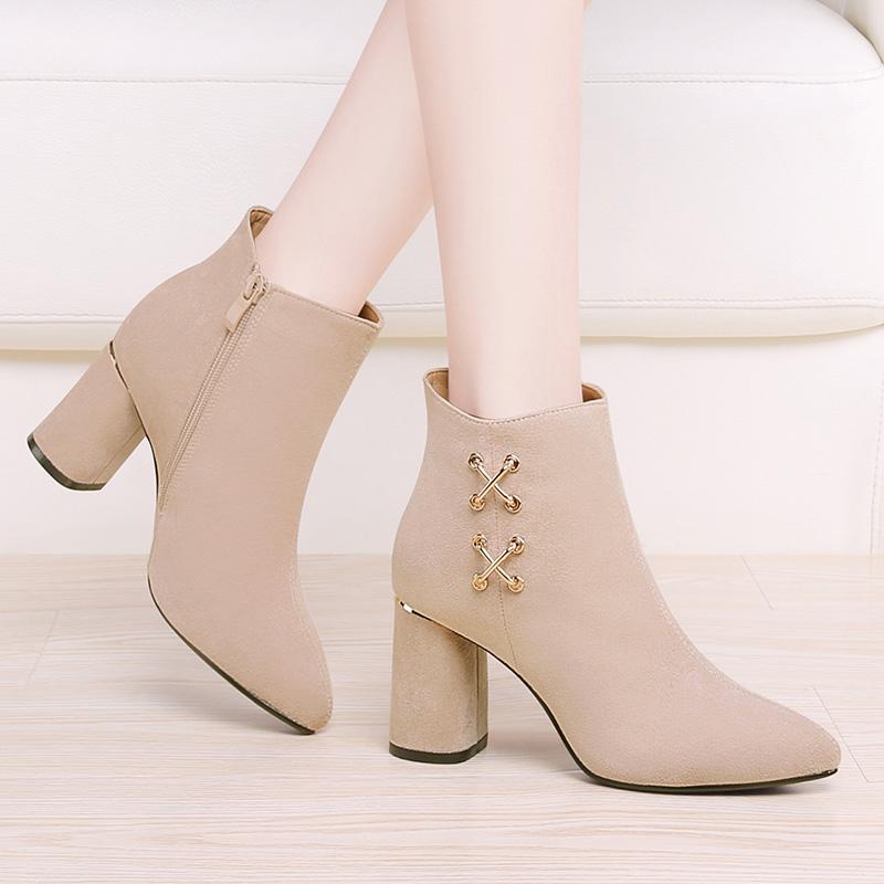 高跟鞋女粗跟磨砂绒面女鞋春秋单靴2021新款时尚百搭米色尖头短靴