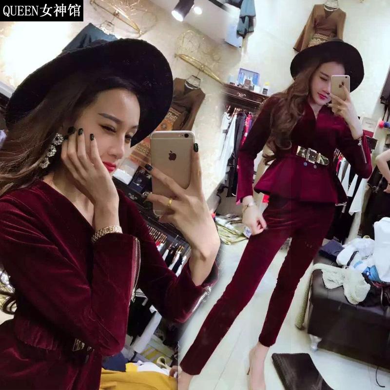 2018春秋新款欧货名媛小香风时尚套装女修身小脚裤长裤两件套女潮