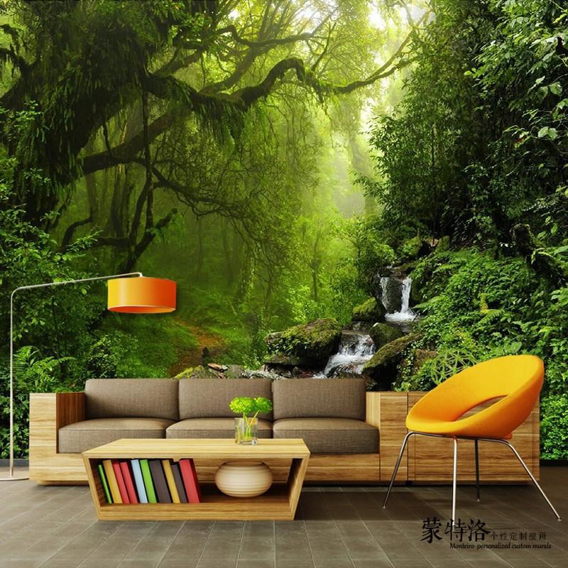 3d立体大自然森林风景壁纸8d客厅电视背景墙纸沙发影视墙装饰壁画