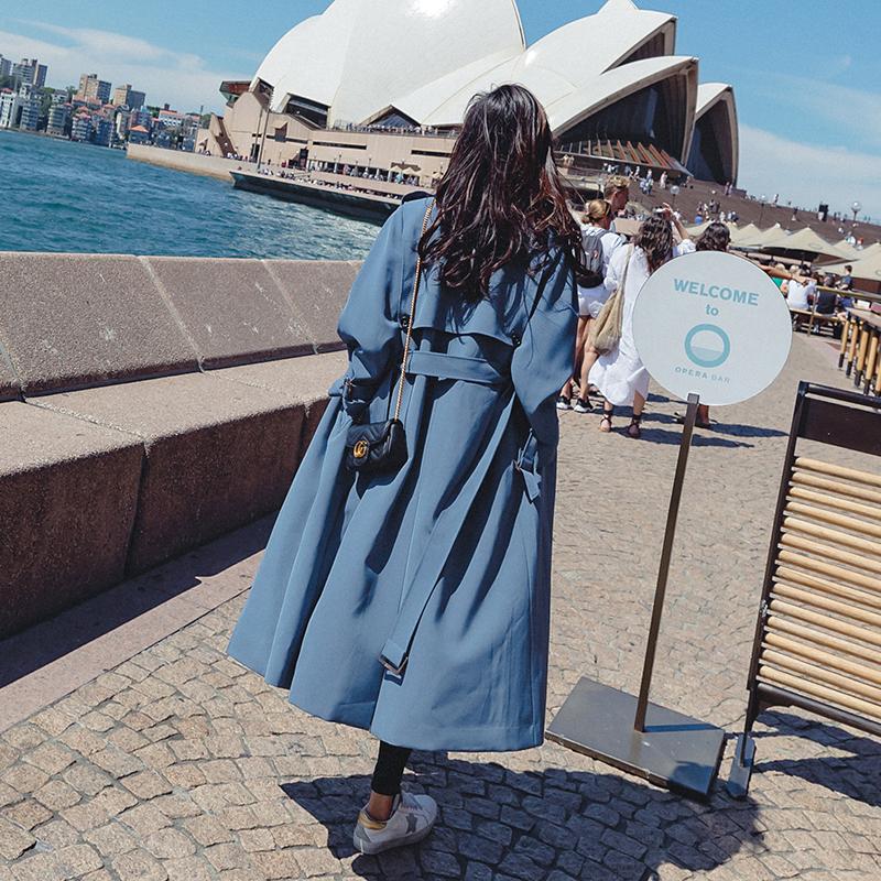 2018春款新款韩版学生bf百搭雾霾蓝lulu风衣女中长款开学季外套潮