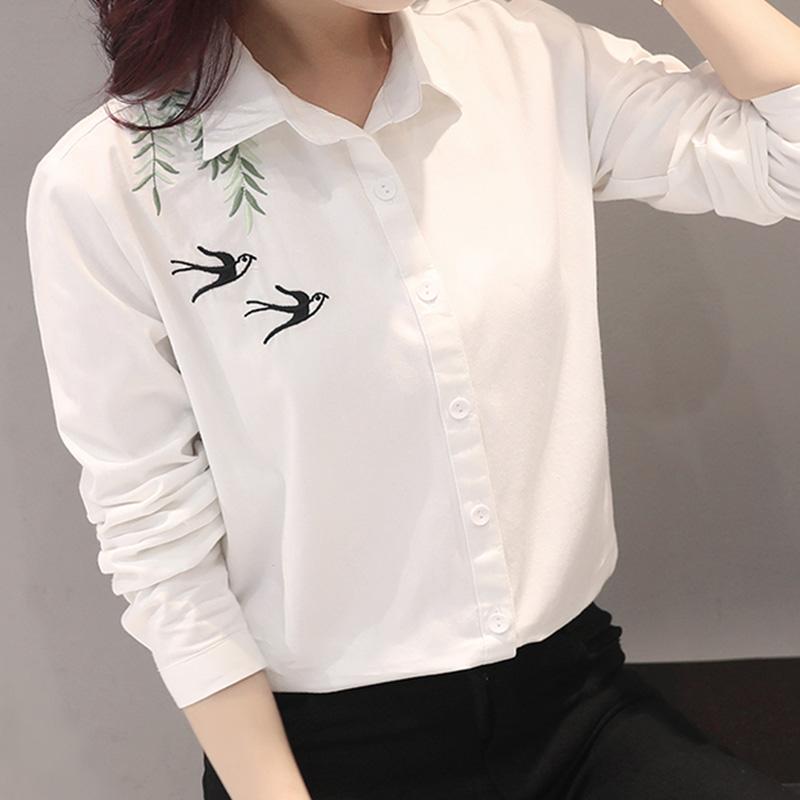 气质上衣服纯棉白衬衣2018春装新款女装时尚刺绣花上班族全棉衬衫