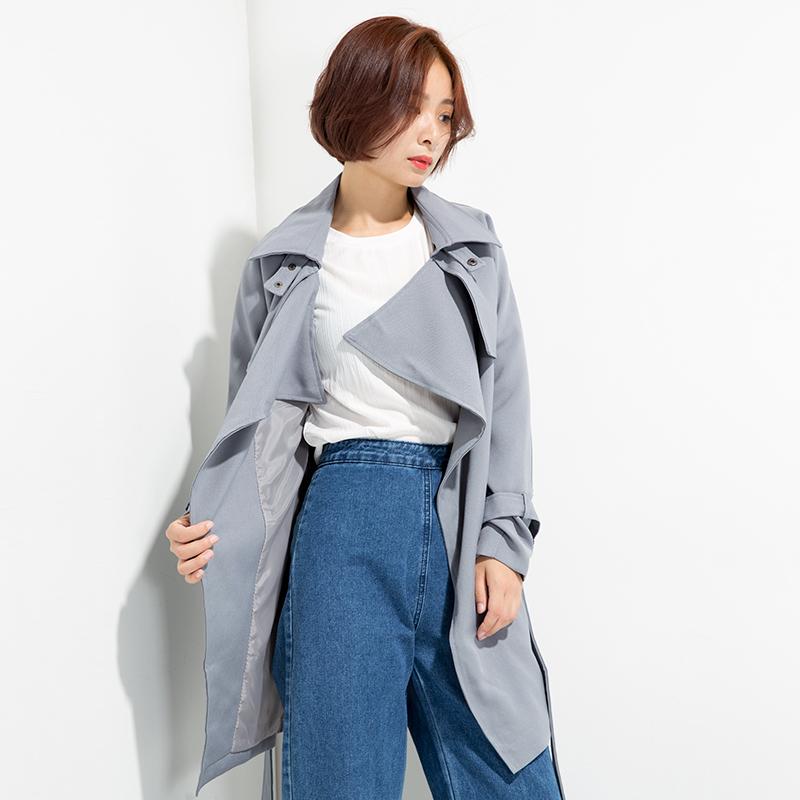 水沐森 雾霾蓝~ 收腰系带风衣女中长款修身显瘦韩版时尚大衣外套