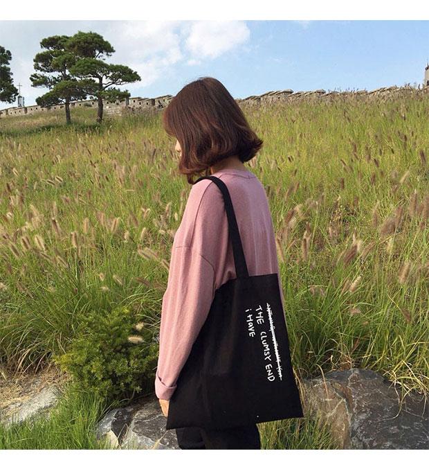 韩国简约百搭文艺字母帆布包女包单肩包森系学生手提袋环保购物袋