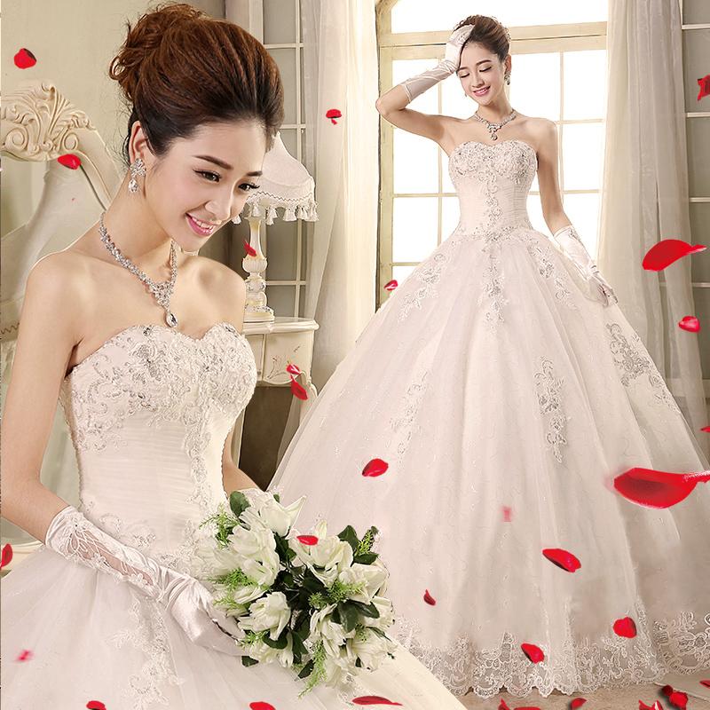 婚纱2018新款拖尾公主梦幻一字肩婚纱新娘结婚韩版春季婚纱显瘦