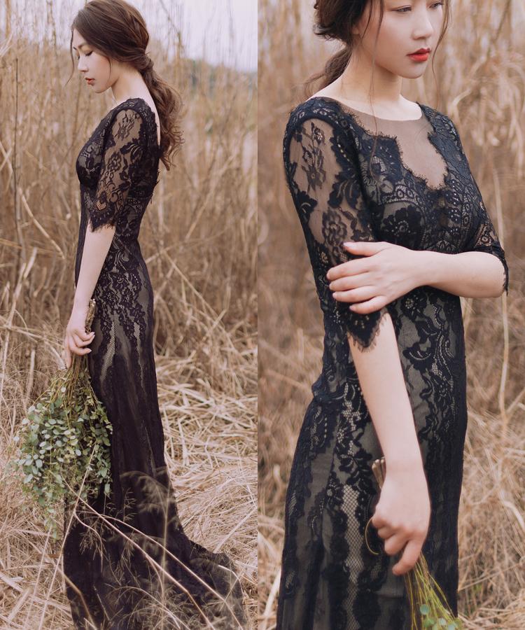 原创实拍波西米亚修身蕾丝深V简约户外草坪旅拍黑色轻婚纱礼服