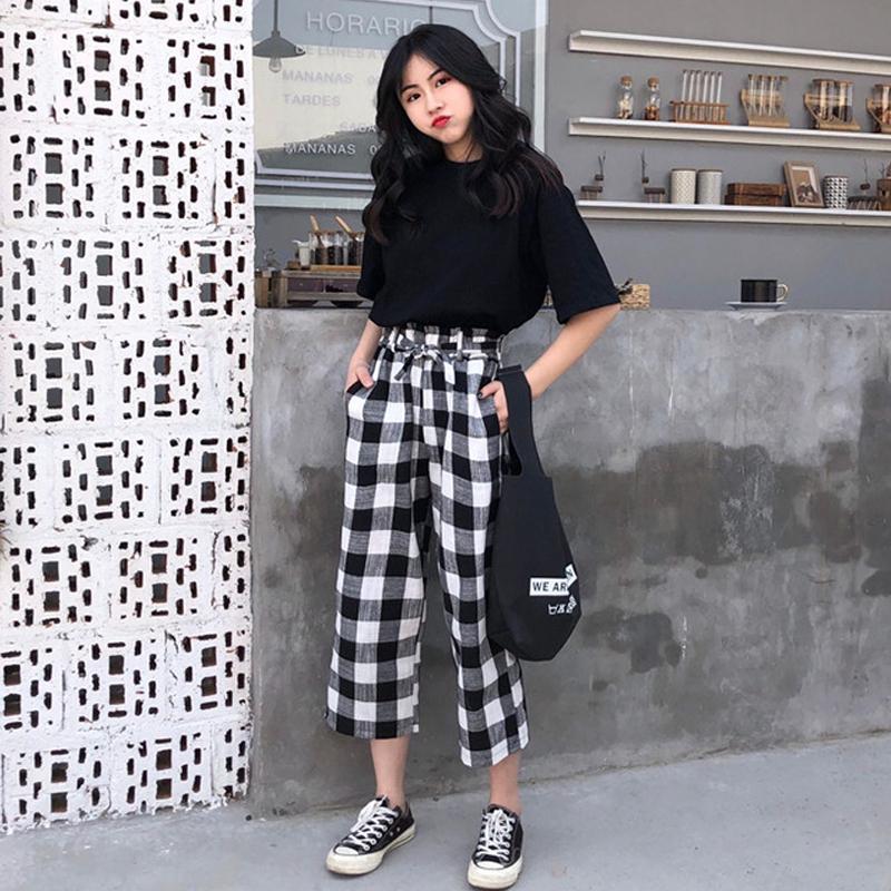 韩版时尚套装女夏装女装2018新款小心机短袖T恤+格子九分裤两件套