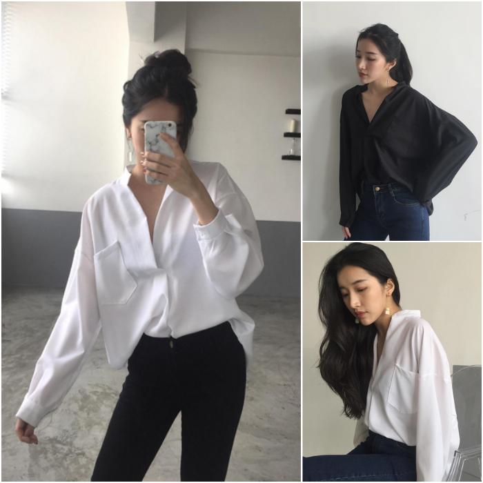 2018春装chic大V领白衬衫女长袖韩范宽松韩版雪纺衬衣学生上衣服