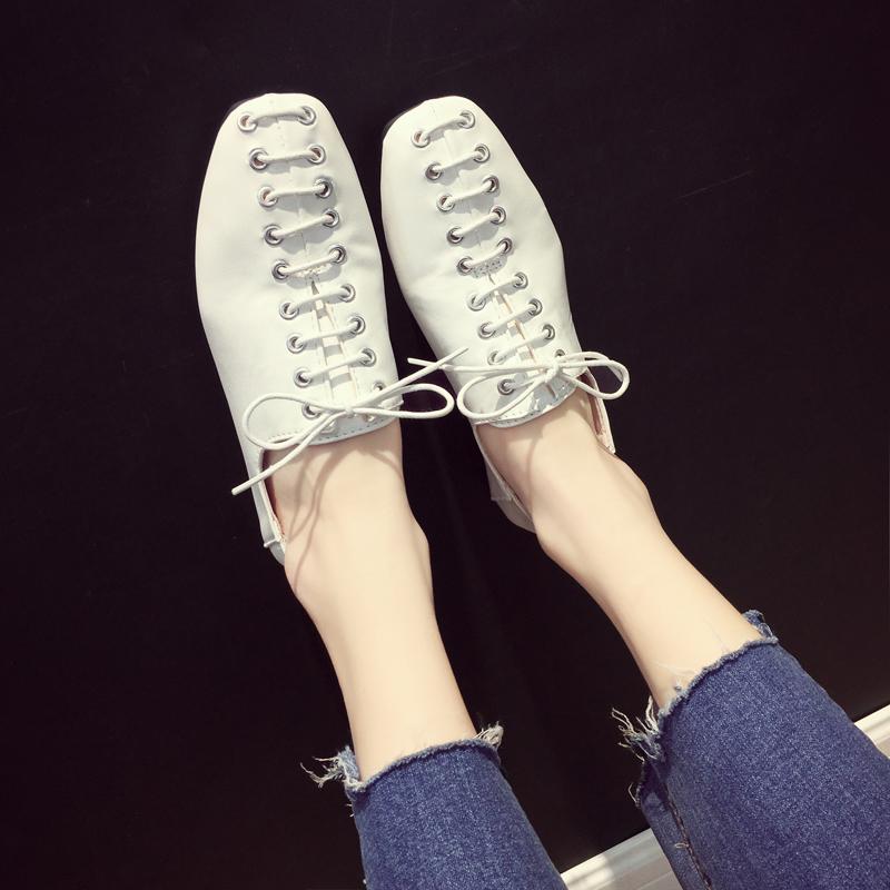 单鞋女2018新品圆头系带平底英伦鞋学生百搭低跟韩版两穿鞋社会鞋