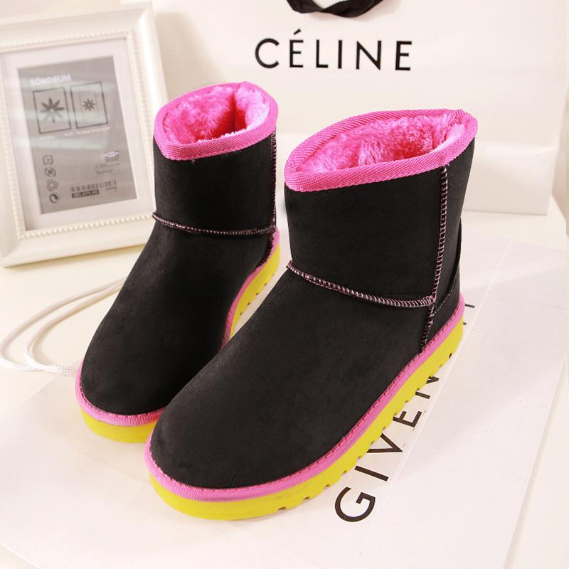 2014冬季新款拼色韩国版学生防水雪地靴加厚保暖短靴休闲女式棉鞋