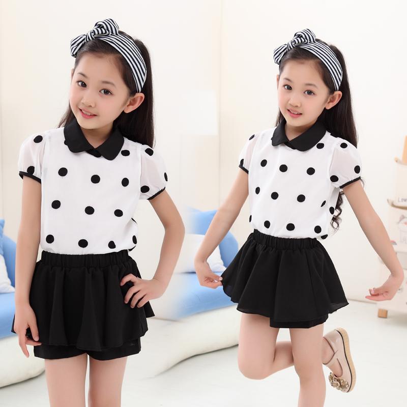 童装女童夏装2015新款韩版中大童夏款短袖雪纺T恤裙裤儿童套装夏