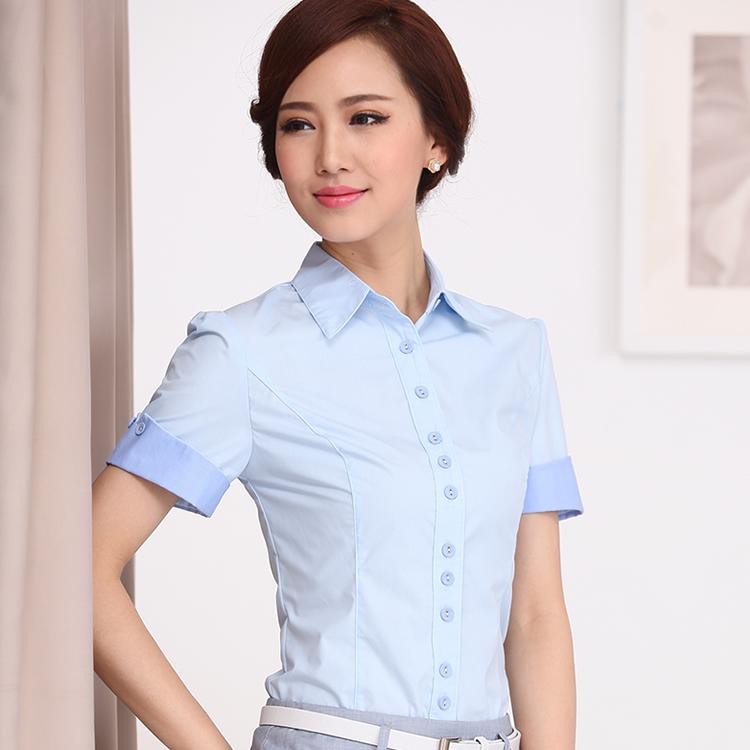 2015春夏装新款韩版女装短袖白衬衫女工装上衣职业正装寸衫工作服