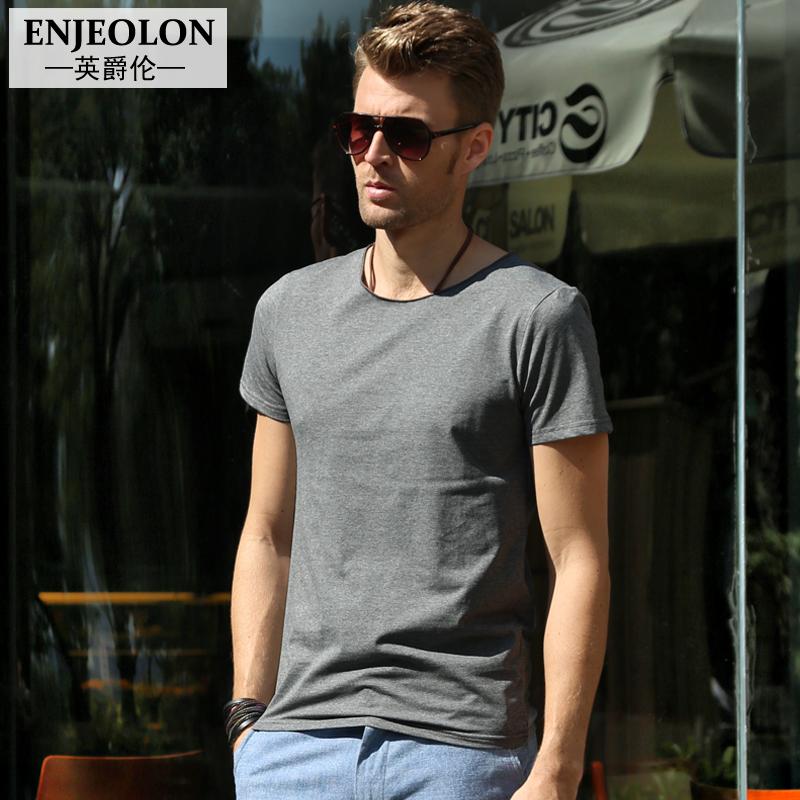 2015夏季 男士短袖T恤 英伦风男装半袖 纯色夏装欧美男款T恤纯棉