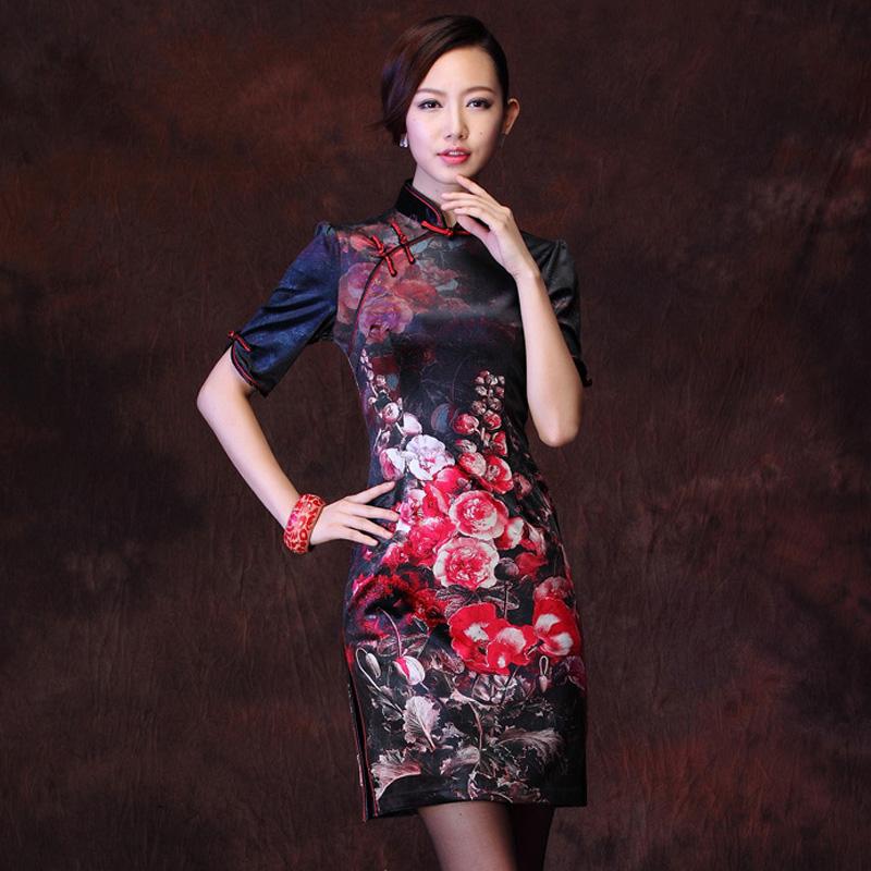 秋冬新款韩国绒印花复古金丝绒改良时尚中长袖妈妈短旗袍裙礼服