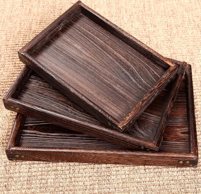 烧桐木实木托盘 长方形木质茶盘 果盘 餐盘 茶具套装