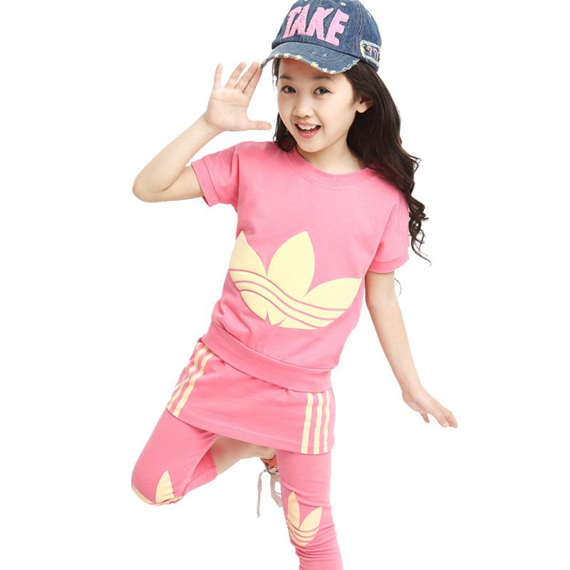 新款夏季童装两件套2015韩版女童三叶草T恤裙裤儿童运动套装8-10