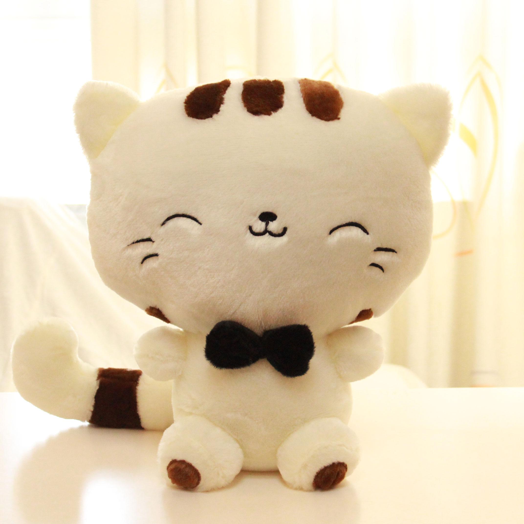 包邮可爱毛绒玩具猫咪公仔大尾巴大脸猫 抱枕布娃娃送女友礼品